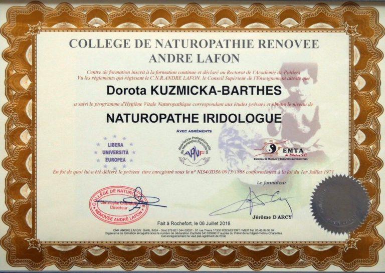 Diplome naturopathe Dorota Kuzmicka