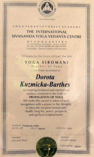 Diplome yoga Dorota Kuzmicka